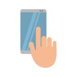 Ręka dotyka telefonu komórkowego gadki rozmowa ilustracji