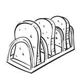 Ręka drawnToasting chleb, rocznika wektoru ilustracja royalty ilustracja