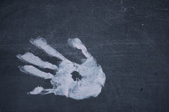 Ręka druk na chalkboard obrazy stock