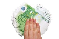 ręka europejski pieniądze Obrazy Stock