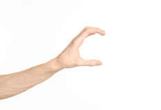 Ręka gestów temat: ludzka ręka pokazuje gesty odizolowywających na białym tle w studiu Obrazy Royalty Free