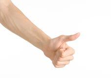 Ręka gestów temat: ludzka ręka pokazuje gesty odizolowywających na białym tle w studiu Fotografia Royalty Free