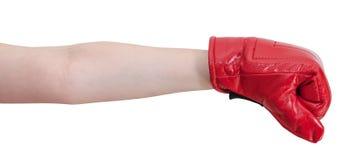 Ręka gest - dzieciak z bokserskich rękawiczek ponczami Zdjęcia Stock