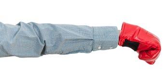 Ręka gest - kierownik z bokserskiej rękawiczki ponczami obrazy royalty free