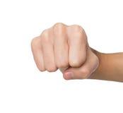 Ręka gest, mężczyzna zaciskał pięść, przygotowywającą uderzać pięścią Zdjęcie Royalty Free
