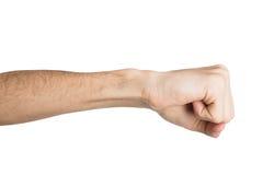 Ręka gest, mężczyzna zaciskał pięść, przygotowywającą uderzać pięścią Obrazy Stock