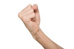 Ręka gest, mężczyzna zaciskał pięść, przygotowywającą uderzać pięścią odosobnionego na bielu Zdjęcie Stock