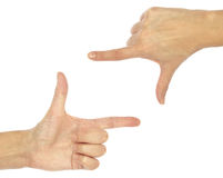 Ręka gesta fotografii rama Obrazy Royalty Free