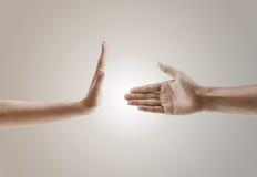 Ręka gesta pojęcie jeden ręka odmawia uścisk dłoni Obraz Stock