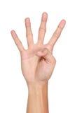 Ręka gesty liczy cztery, odizolowywający Fotografia Stock
