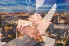 4 ręka Gromadzić Korporacyjnego spotkania Obrazy Stock