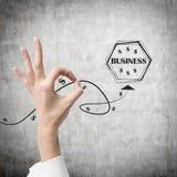 Ręka i obrazek z słowo biznesem Zdjęcia Royalty Free