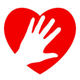 Ręka i serce Zdjęcia Royalty Free