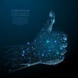 Ręka kciuk w górę błękita ilustracja wektor