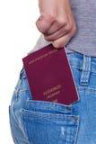 Ręka kobieta z paszportem fotografia royalty free