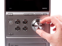 Ręka kontroluje pojemność stereo pisak Obraz Stock