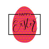 Ręka kreślił Szczęśliwą wielkanoc ustawiającą jako Wielkanocny logotyp, odznaka lub ikona, Zdjęcie Stock