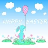 Ręka kreślił Szczęśliwego Wielkanocnego tekst jako logotyp, odznaka i ikona Paschy, royalty ilustracja
