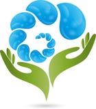 Ręka, krople, woda, logo ilustracji