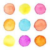 Ręka malujący akwarela okręgi Set watercolour plamy Akwarela okręgu tekstury również zwrócić corel ilustracji wektora ilustracji