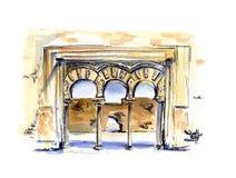 Ręka malujący akwareli nakreślenia architektury ilustracyjny język arabski Zdjęcia Stock