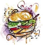 Ręka malujący Cheeseburger ilustracja wektor