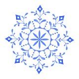 Ręka malujący Dekoracyjny akwarela płatek śniegu royalty ilustracja