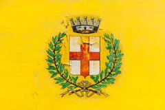 Ręka malujący emblemat Mediolan fotografia stock