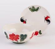 Ręka malujący zupny puchar, ceramiczny naczynie i zdjęcie stock