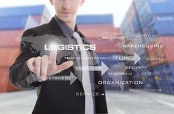 Ręka naciska logistyka teksta ikonę na ekranie z Przemysłowym Conta Zdjęcia Royalty Free