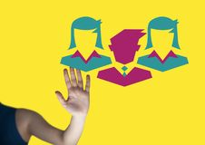 Ręka oddziała wzajemnie z ludźmi biznesu ikon Fotografia Royalty Free
