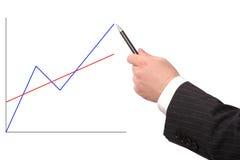 ręka odizolowane przedstawiający wykresu Obraz Stock