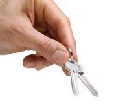 ręka odizolowywający kluczowi klucze Fotografia Stock