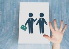 Ręka otwarta z ludźmi biznesu spotyka ikonę Obraz Stock