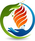 Ręka płomienia logo ilustracja wektor