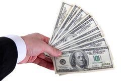 ręka pieniądze Zdjęcia Stock
