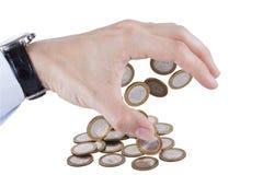 Ręka pieniądze przyciągający odizolowywającym Obraz Stock
