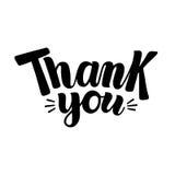 Ręka pisać Dziękuje Ciebie słowa, szczotkarski kaligrafia typ Fotografia Stock