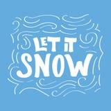 Ręka pisać kaligraficzny zwrot Pozwalał je śnieg na błękitnym tle Zdjęcie Royalty Free
