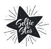 Ręka pisać piszący list Selfie zabawy gwiazdową czarny i biały grafikę Zdjęcia Royalty Free