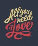 Ręka piszący list miłości wycena koszulki projekt Zdjęcia Stock