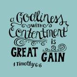 Ręka pisze list Wielkiego zysk jest bogobojnością z contentment royalty ilustracja