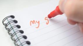 Ręka pisze MÓJ celach z czerwonym markierem zdjęcie wideo