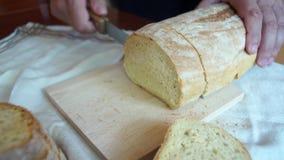 Ręka plasterka bochenki chleb zbiory wideo