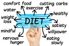 Ręka Podkreśla diety etykietkę Odizolowywającą zdjęcie royalty free