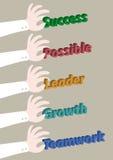 Ręka - podnosi up pojęć biznesowych sformułowania ilustracji