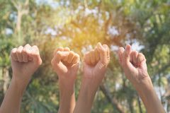 Ręka podnosi up pokazywać władzę silną na natury bac ludzie ręk zdjęcie royalty free
