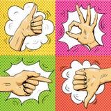 Ręka podpisuje wewnątrz retro wystrzał sztuki styl Kreskówka wektoru komiczny set Wskazujący palec up, ok znak, kciuk ilustracji