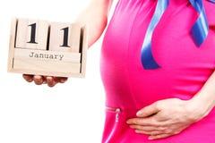 Ręka pokazuje datę urodzenia na sześcianu kalendarzu kobieta w ciąży, oczekuje dla nowonarodzonego pojęcia Obraz Royalty Free