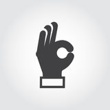 Ręka pokazuje OK znaka Gest ręka, języka ciała symbol Mieszkanie znak zgoda, zatwierdzenie, wyrażeniowa pozytywna emocja ilustracji